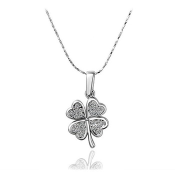 New arrial lucky four leaf clover necklace 18k gold filled alloy crystal necklaces,Free shipping