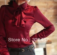 Big Sale!!! 2013 New Design Ladies Elegant Fashion Ruffled Neckline Formal Shirt Business Blouse Free Shipping Size S-XXL