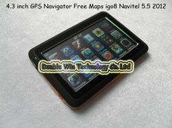 New Arrival 100% 4.3 inch GPS Navigator With OS CE6.0 Atlas 4 CPU500MHZ FM 4GB 128M 2012 GPS Maps + Optional igo8 Navitel 5.5(China (Mainland))