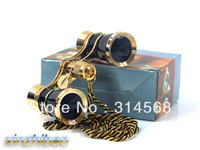 3x25 Opera/Theater Glasses Brass Binoculars Coated Lens Black