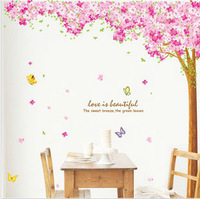 New Arrival fashion big size 220cm*210cm removable Flowering Cherry tree wall stickers floral wall art stickers tree wall decals
