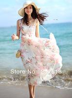 Summer Dresses Women Sleeveless Print Silk Chiffon Dresses Beach Party Bohemian Maxi Long Dress