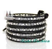 Top Fashion Crystal Leather Wrap Bracelets, free shipping crystal beaded Bracelets, unisex jewelry