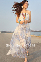 Women Spaghetti Strap Chiffon Dress Bohemian Long Dress Sleeveless Beach Party Maxi Dresses