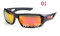 free shipping Polarized Eyepatch II 2 men sport sunglasses / cycling glasses black frame red fire iridium lens
