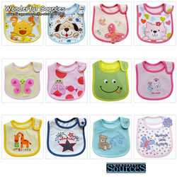 10pcs/lot free shipping ,3-layer waterproof Feeding bibs , cute animal infant bibs for wholesale(China (Mainland))