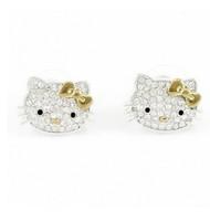 Free Shipping,hello kitty wholesale,hello kitty earring cheap,hello kitty in gold bow free jewelry gift-12pcs/lot HT-7958