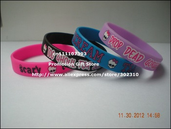 Monster High Wristband, Silicon Bracelet, Printed Wristband, Youth Size, 100pcs/Lot, Free Shipping