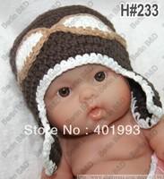 Handmade Cute Newborn Baby boy Crochet Knit  beanie Hat in dark brown christmas gift Free Shipping over the world