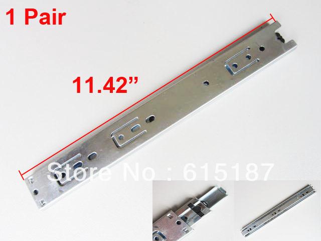 "2 Pcs 11.42 "" Ball Bearing 3-fold corrediça da gaveta telescópica trilhos(China (Mainland))"