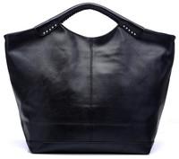 Free shipping new woman black rivet vintage handbag fashion elegant  shoulder bag lady big soft totes