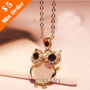 European Retro Natural Shells Owls Point Drill Collarbone Chain Necklace N498(China (Mainland))