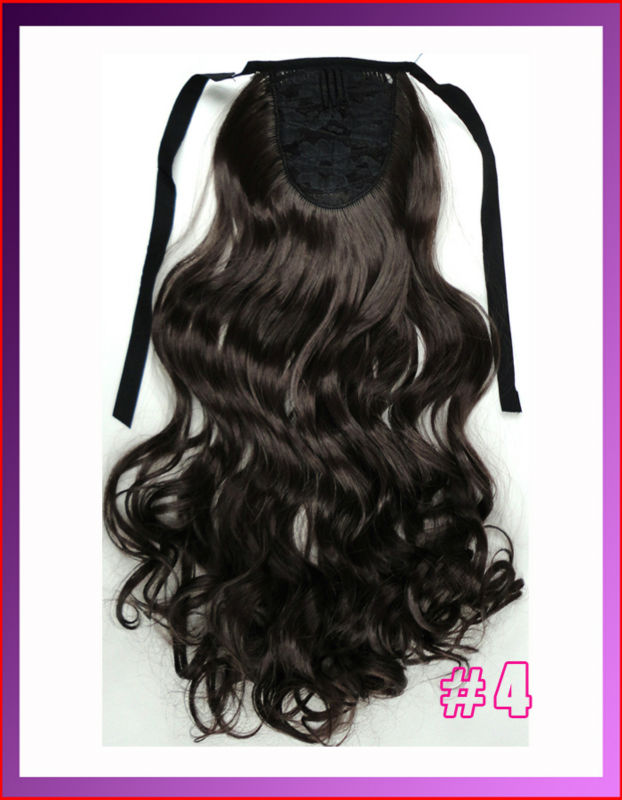 "22""(55cm) 90g ribbon ponytail curly clip in hair extensions, hot resistent synthetic, color #4 medium brown"