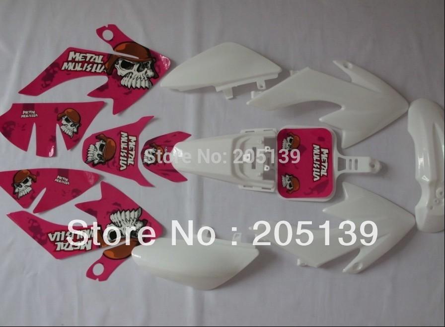 NEW CRF50 3M pink GRAPHICS KIT sticker + white PLASTIC FOR honda MOTO DIRT PIT BIKE PARTS XR50 CRF50(China (Mainland))