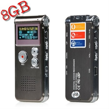 Rechargeable 8GB 650Hr Digital Audio Voice Recorder Dictaphone MP3 Player New Free Shipping