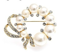 High Quality!Free Shipping!Decorative Garment Accessories Bridal Wedding Luxury Rhinestone and Pearl Flower Brooch Pin