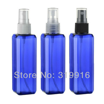 free shipping discount  capacity100ml square  blue perfume  spray bottles  50pc/lot  wholesale