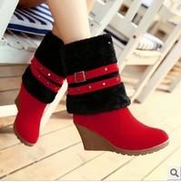 2015 winter   women's shoes high-heeled snow boots tassel high boots fur one piece