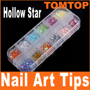 5 sets /lot , 12 Colors Sparkly Glitter Nail Art Hollow Star Decoration Tips Nail Art Sticker