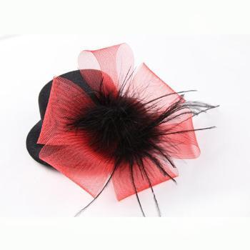 New BLACK hen party Veil n Feather fascinator MINI Hat wedding clip hat