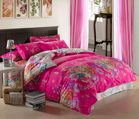 Free shipping + good quality 100% Cotton romantic hot pink floral pattern double size Duvet covers 4pcs set twin queen king size