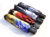 [ANYTIME]Original Brand - Threeelephants Oil Painting Sunscreen Anti-uv Automatic Fold Sun Protection Umbrella - Free Shipping
