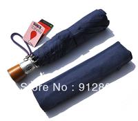 [ANYTIME] Fully-automatic Plain Commercial Men's Women's Three Fold Ultra-light Sun Rain Umbrellas, Vintage Wooden Handle
