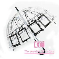 Free shipping long-handled transparent umbrella black/red pocket umbrella can put photos structurein bubble umbrella child gift