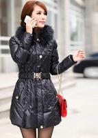2014  real raccoon fur down coat women's  medium-long  silm overcoat  winter long plus size coat  down jacket free shpping
