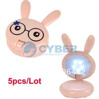 5pcs/Lot Lovely Pink Mini Rabbit Shape Folding Up LED Desk Lamp Table Lamp Free Shipping 4734