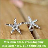 Fashion  rhinestone sea star Starfish earrings !cRYSTAL sHOP
