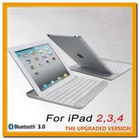 New White Aluminum Case Bluetooth Wireless Keyboard Dock for Apple iPad 2 3 4