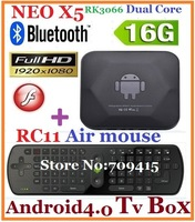 MINIX NEO X5 RK3066 Dual Core Cortex A9 Android TV Box Bluetooth DDR3 1G/16G ROM USB RJ45 HDMI + RC11 Air Mouse ,Free shipping