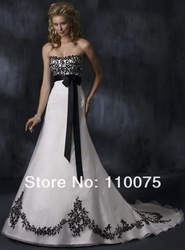 Sexy White Black Organza Embroidery Strapless Lace-up A-Line Bridal Wedding Dress Gown Prom Ball Bridesmaid Party Custom(China (Mainland))