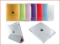 Crystal Hard Back Case Work with Smart Cover For Apple iPad 2 3 Multiple Color 100pcs/lot  for free shipping