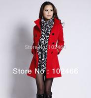 2014 new long section thick woolen coat female woolen jacket Slim woolen coat autumn winter m-xxl  Free shipping
