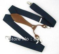 BD607 Men's Suspenders Women's Braces Adult Unisex Elasticity Adjustable Size High Quality Metal Clip-on Solid Color Navy Blue