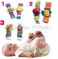 Free shipment 4cpcs/set mixed color baby rattle baby toys Lamaze Garden Bug Wrist Rattle bee / beetle +foot socks