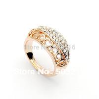 Stellux Austrian Crystal Rhinestone inlaid 18K Real Gold Plated Wedding Ring Set FREE DROP SHIPPING