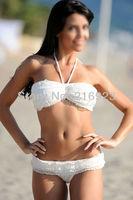 Free Ship New Fashion White Bikini Sexy Lengerie Halter Set Swimsuit Beachwear Girl