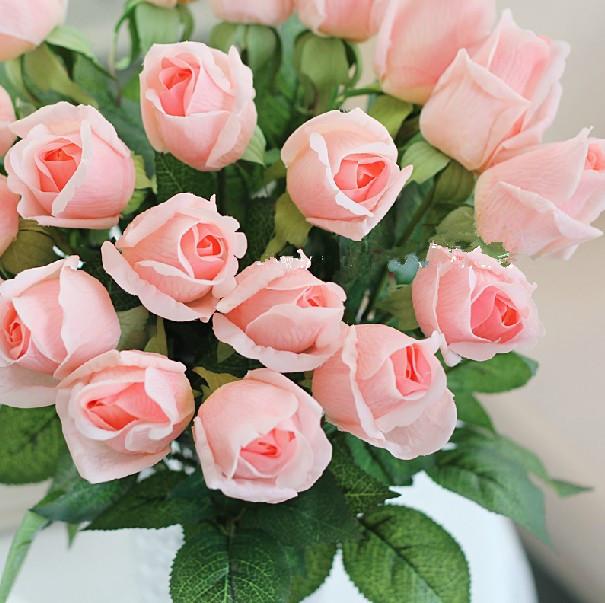 Atacado 8 cores real látex Toque rosas de seda Buds em branco / rosa / vermelho hastes para o casamento / Centerpieces / Decoração(China (Mainland))
