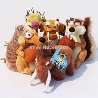 5pcs /set Ice Age  Elephant, bradypod,Squirrels,Tiger plush toy Ice Age 4 plush toy doll Free shipping