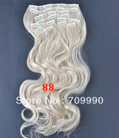 retail synthetic clip in wavy hair extensions 10pcs 170g 1set 18 20 22 24 inch #88 Light  Ash Blonde