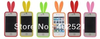 Free Shipping  Cute Rabbit Bunny Ear Silicone Case with Bushy Tail Holder for i Phone 4 4G