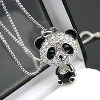 (Min. Order is $10,Can order different items,mix order) Fashion long big panda pendant chain necklace .Wholesale !