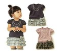 5pcs baby girls  sleeve cake dress bow dots cotton dress children summer clothing free shipping