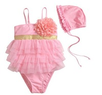 2014 newest flower Girls Pink one Piece Lace Swimwear with Hat Swimsuit Swimming Suit Bathing  Clothes