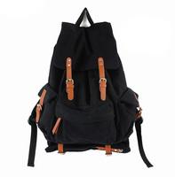 BAZ19 MEN WOMEN VINTAGE LOOK TRAVELING BLACK Thick cotton Canvas Backpack Shoulders school book Bag for women men boy girl