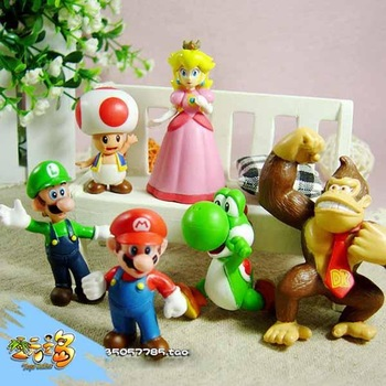 Lots 6 pcs Nintendo Super Mario Bros Action Figure New Free shipping& Wholesale