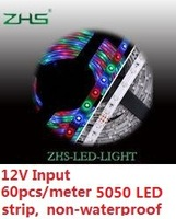 SMD 5050 LED strip 9W per meter 60LEDs PER meter ceiling lamp chamfer band   waterproof   (10meters/lot)